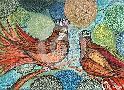 Mythological Sirin Birds