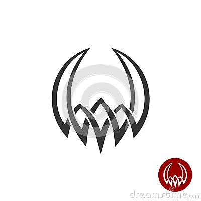 Free Mythology Weaving Abstract Tattoo Symbol. Round Shape With Horns Royalty Free Stock Images - 104762129