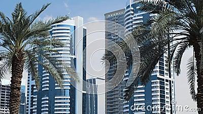 Nära stor lyx gömma i handflatan mot skyskrapor i Dubai arkivfilmer