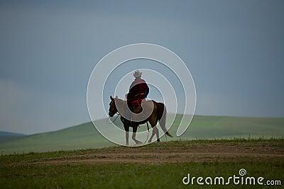 Nómada mongol en el cielo del caballo