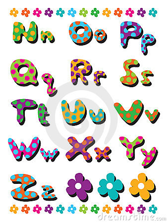 N to Z polka dots alphabets