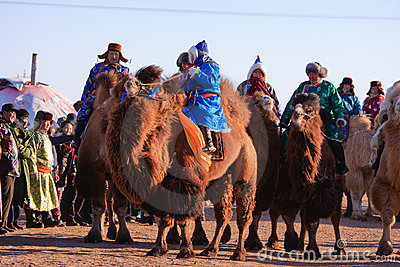 Naadam camel racers Editorial Stock Photo