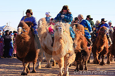 Naadam camel racers Editorial Photo