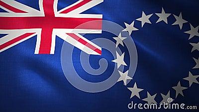 Naadloos lopen vlag voor de Cookeilanden, prachtig blazen in de wind 4.000 royalty-vrije illustratie