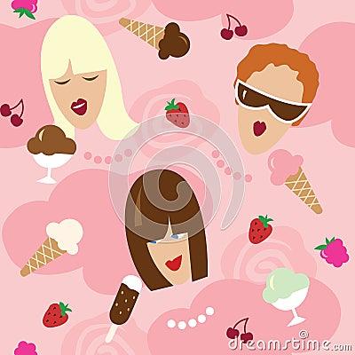Naadloos patroon - meisjes en dessert