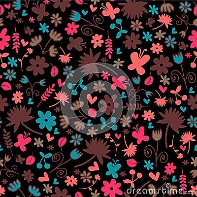Naadloos patroon met bloemenelementen