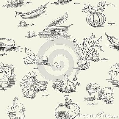 Naadloos patroon met groente