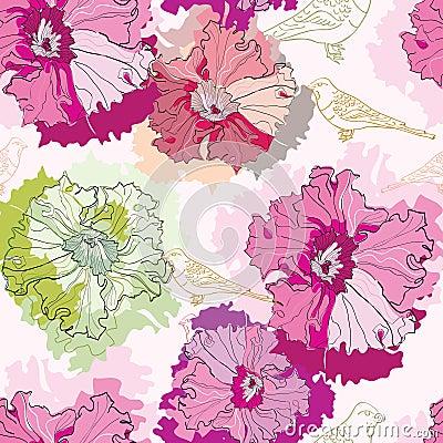 Naadloos patroon met tedere bloemen en vogels
