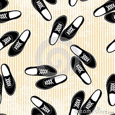 Naadloos van de tennisschoenenillustratie patroon als achtergrond