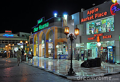 Naama bay shopping night Editorial Photography