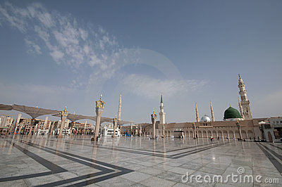 Nabawi Mosque compound  in Medina, Saudi Arabia.