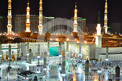 Nabawi Mosque in Medina at night close up