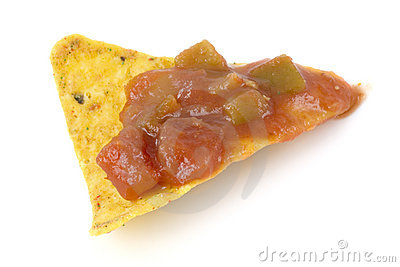 Nacho chip with salsa sauce