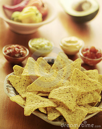 Free Nachos With Dips Stock Photography - 8887172