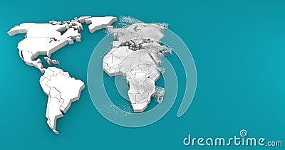 nacimiento 3d del mapa del mundo libre illustration