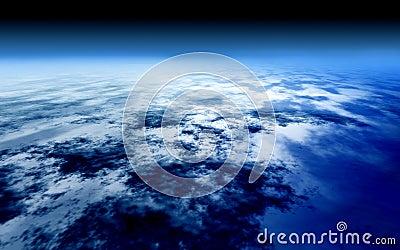Nad atmosfery błękitny jaskrawy nieba świat