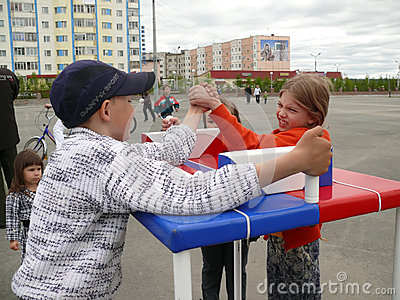 Nadym, Russia - June 28, 2008: Competitions on arm-wrestling. St Editorial Image