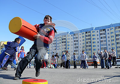 Nadym, Russia - May 17, 2008: Children s competitions in sport. Editorial Photo