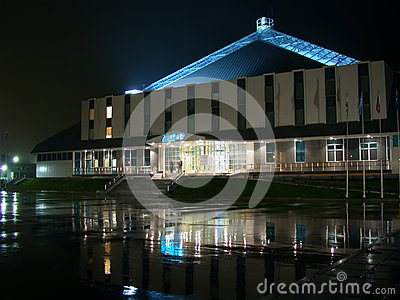 Nadym, Russia - September 17, 2002: the Night skyline. Editorial Photo