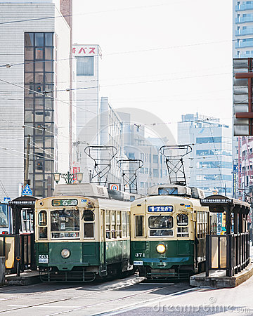 Free Nagasaki, Japan - February 23, 2012: Nagasaki City With Tram Railway Royalty Free Stock Photo - 60088795