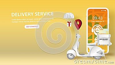Nagranie wideo ze smartfona z koncepcją aplikacji usługi dostarczania online Święta Sezon Letni Papier do produkcji motocykli ilustracji