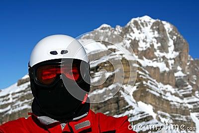 Nahaufnahme des Skifahrers