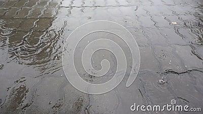 Nahaufnahme geschossen vom starken Regen auf Straße stock footage
