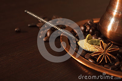 Nahaufnahme von Kardamomhülsen, von Anis und von braunem Zucker in einem Teelöffel