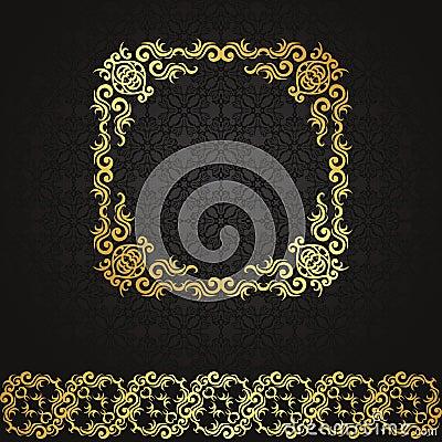 Nahtloser Hintergrund der Weinlese mit Rahmen und Band