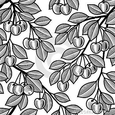 Nahtloser Kirschhintergrund Schwarzweiss