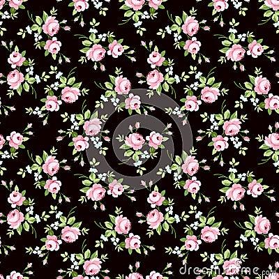 nahtloses blumenmuster mit kleinen rosa rosen vektor abbildung bild 66702238. Black Bedroom Furniture Sets. Home Design Ideas