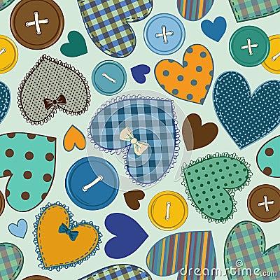 Nahtloses Muster Von Herzpatchworks Und Knpfen Stockfotos 2 Nahtloses  Muster Von Herzpatchworks Und Knpfen Stockbilder Stockfotografie