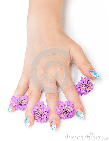 Free Nail Art And Flower Stock Image - 25646741