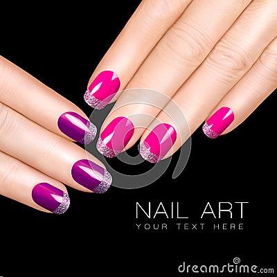 Free Nail Art. Luxury Nail Polish. Glitter Nail Stickers Royalty Free Stock Photo - 44695105