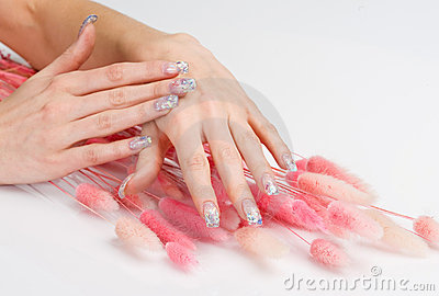 Nail art and pink decoration spikes