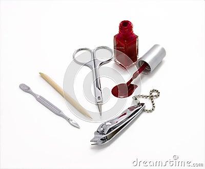 Nail mending kit with nail polish