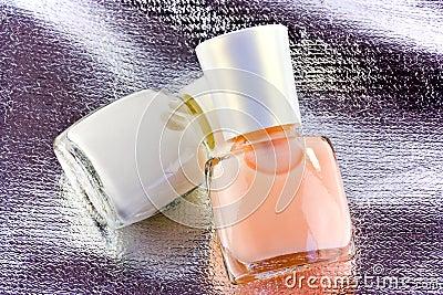 Nail polish on silver fabric