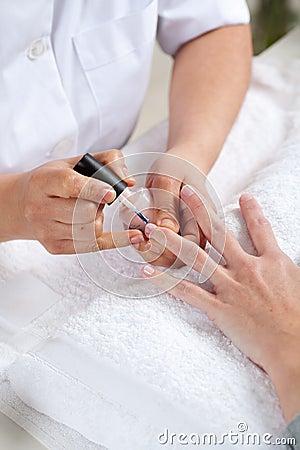Nail salon. Manicure process.