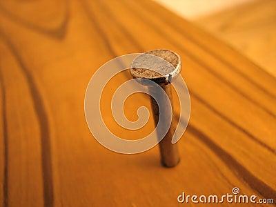 Nail in wood board