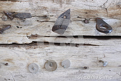 Iron objects in wood
