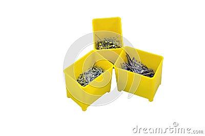 Nails in plastic box