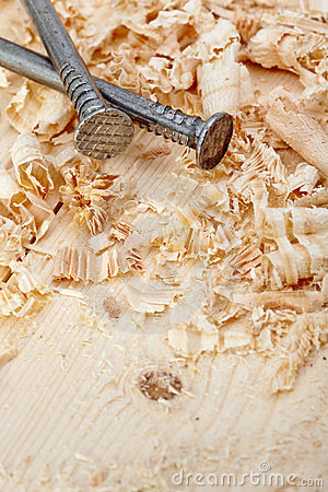 Nails and wood shavings
