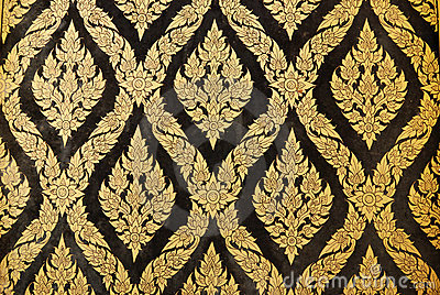 Naive Thai style of Gilded Black Lacquer