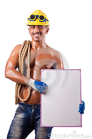 Naked builder with  board