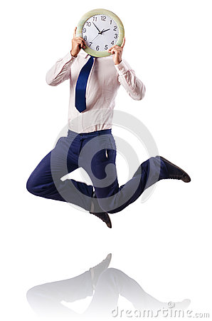 Naked businessman jumping