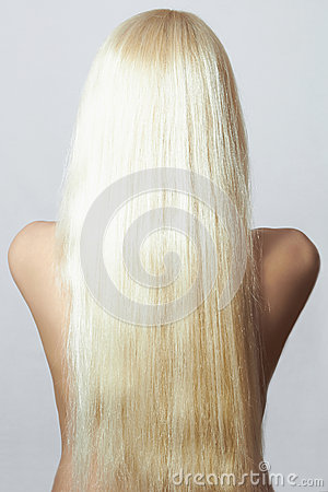 Naked Girl. Back side of Woman with Straight Hair