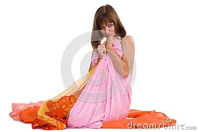 Naked girl in the tissue
