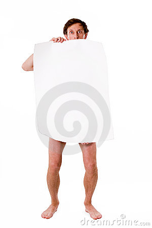 Naked man with blank poster