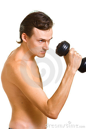 Naked man with dumbbell