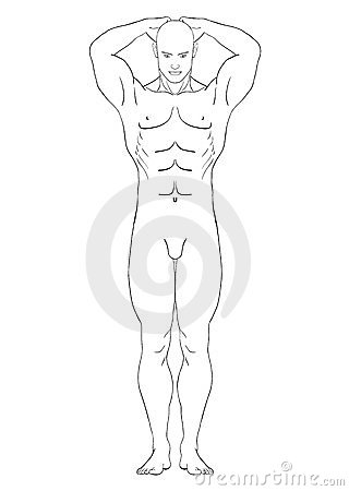 Naked man in the full-length, vector